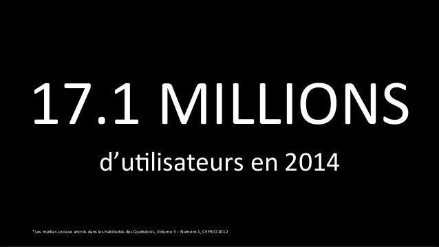 *Les médias sociaux ancrés dans les habitudes des Québécois, Volume 3 – Numéro 1, CEFRIO 201...