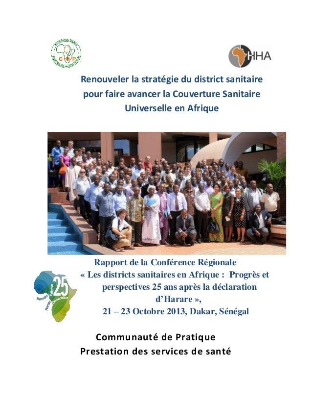 Renouveler la stratégie du district sanitaire pour faire avancer la Couverture Sanitaire Universelle en Afrique  Rapport d...