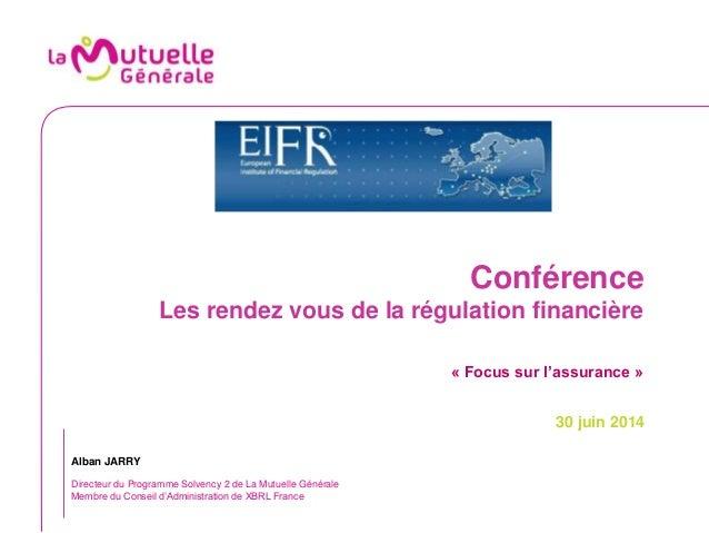 Conférence Les rendez vous de la régulation financière « Focus sur l'assurance » 30 juin 2014 Alban JARRY Directeur du Pro...