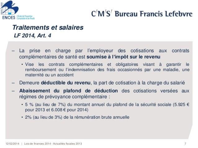 Conference lois de finances et actualit s fiscales 2014 - Salaire plafond de la securite sociale ...