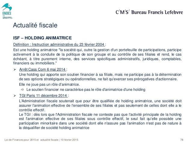 Lois De Finances Et Actualites Fiscales 2015