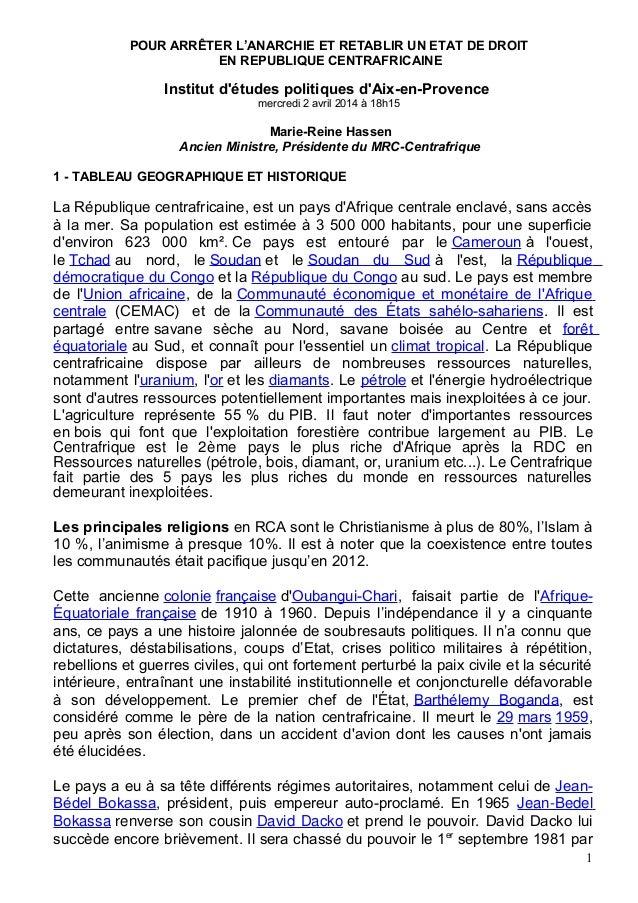 POUR ARRÊTER L'ANARCHIE ET RETABLIR UN ETAT DE DROIT EN REPUBLIQUE CENTRAFRICAINE Institut d'études politiques d'Aix-en-Pr...