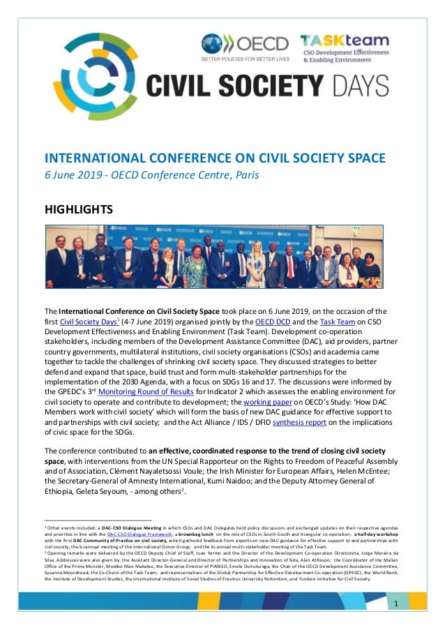 1 INTERNATIONAL CONFERENCE ON CIVIL SOCIETY SPACE 6 June 2019 - OECD Conference Centre, Paris HIGHLIGHTS The International...