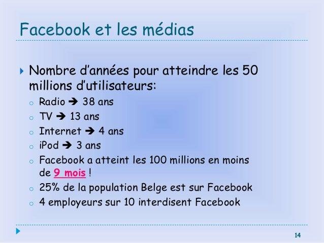 14 Facebook et les médias  Nombre d'années pour atteindre les 50 millions d'utilisateurs: o Radio  38 ans o TV  13 ans ...