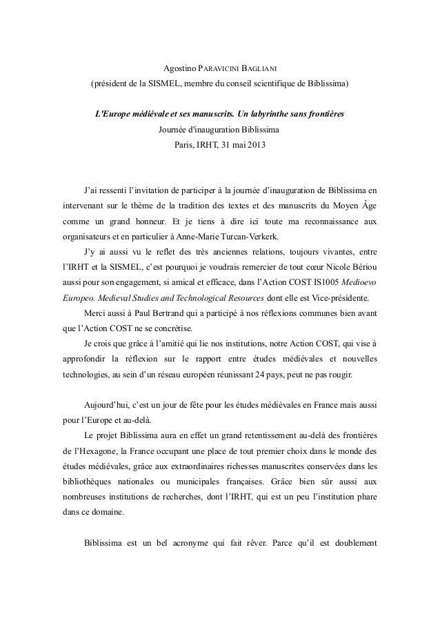 Agostino PARAVICINI BAGLIANI (président de la SISMEL, membre du conseil scientifique de Biblissima) L'Europe médiévale et ...