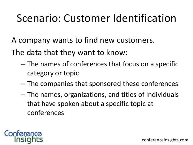 Scenario: Customer Identification A company wants to find new customers. The data that they want to know: – The names of c...