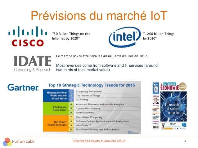 """Prévisions du marché IoT 4 """"50 Billion Things on the Internet by 2020"""" """"…200 billion Things by 2020"""" Le marché M2M atteind..."""