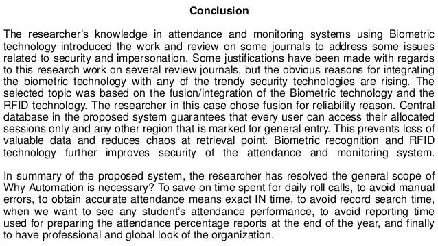 Monitoring Attendance Using Biometric Essay Sample