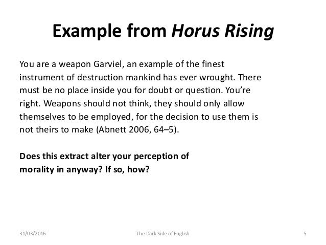 Concept Of Morality In Horus Rising The Seeds Of Heresy Are Sown An
