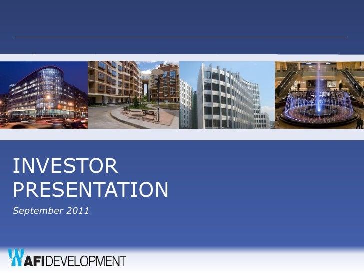 INVESTORPRESENTATIONSeptember 2011