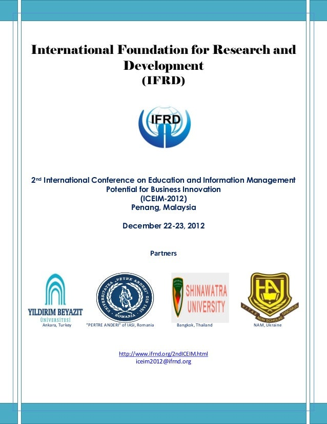 International Foundation for Research and               Development                                             (IFRD)2nd ...