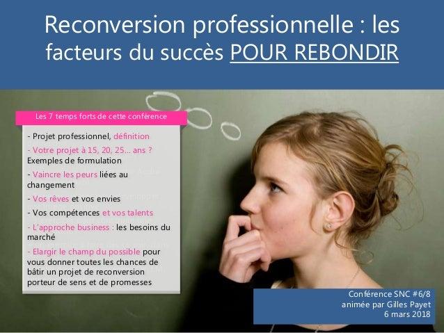 Reconversion professionnelle : les facteurs du succès POUR REBONDIR Conférence SNC #6/8 animée par Gilles Payet 6 mars 201...