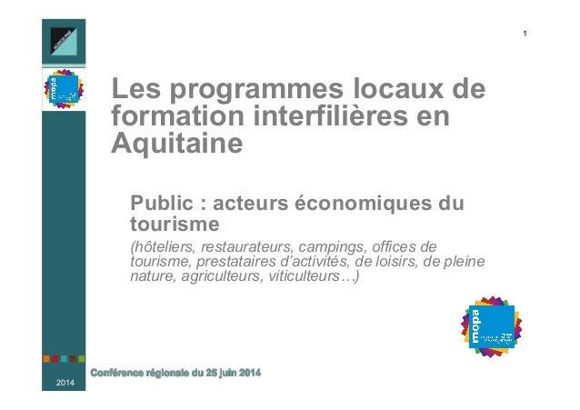 2014 1 Les programmes locaux de formation interfilières en Aquitaine nPublic : acteurs économiques du tourisme n (hôte...