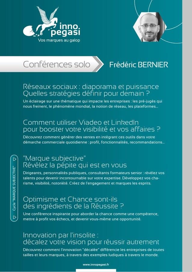 Conférences de Frédéric BERNIER - Inno Pegasi
