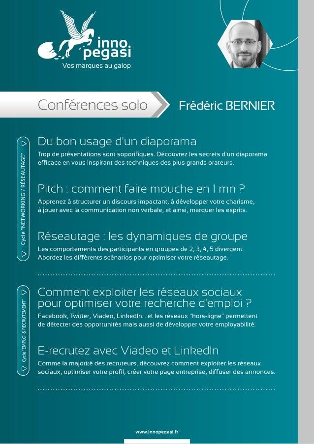 Conférences de Frédéric BERNIER - Inno Pegasi Slide 3