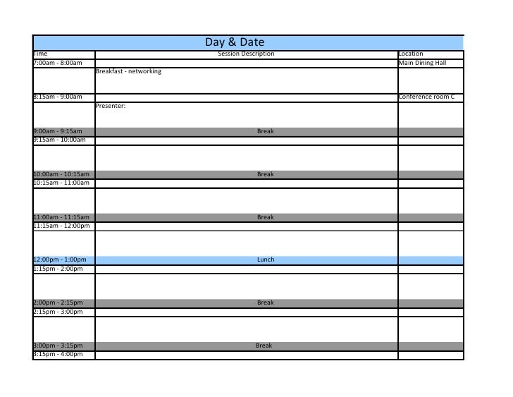 Conference Schedule Template – Sample Interview Schedule Template