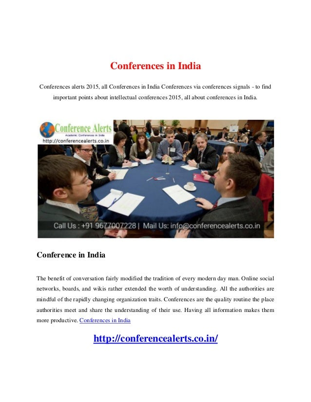 Conferences in India Conferences alerts 2015, all Conferences in India Conferences via conferences signals - to find impor...