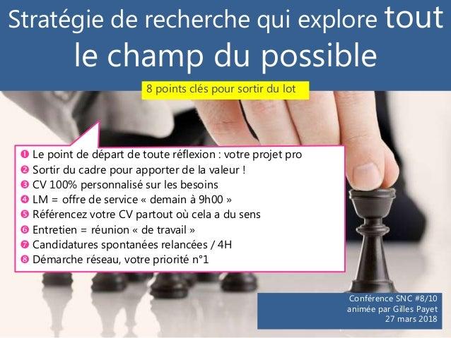 Stratégie de recherche qui explore tout le champ du possible Conférence SNC #8/10 animée par Gilles Payet 27 mars 2018  L...