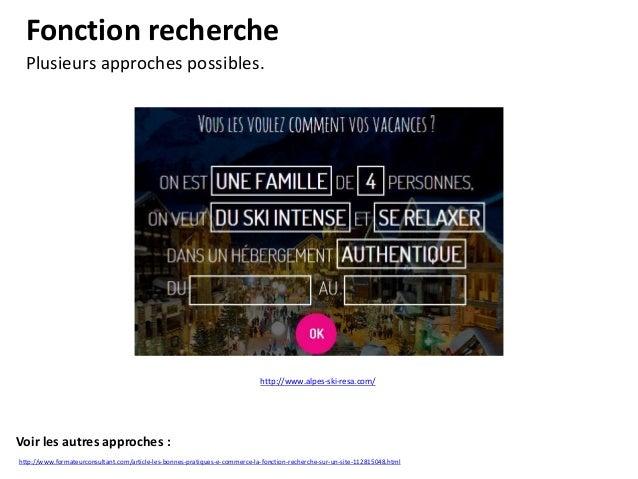 Les menus riches Accompagner l'internaute.  http://www.spartoo.com/  Voir les autres approches : http://www.formateurconsu...