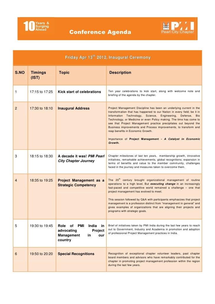 Conference Agenda, Topics