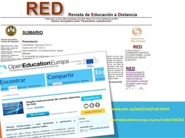 Muchas gracias mzapata@um.es www.um.es/ead/mzapata www.um.es/ead/red/red.html openeducationeuropa.eu/en/node/165261