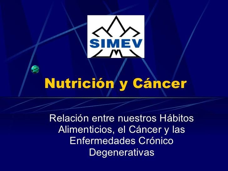 Nutrición y Cáncer Relación entre nuestros Hábitos Alimenticios, el Cáncer y las Enfermedades Crónico Degenerativas
