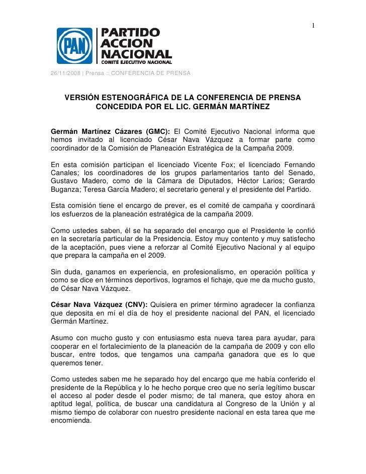 1     26/11/2008 | Prensa :: CONFERENCIA DE PRENSA        VERSIÓN ESTENOGRÁFICA DE LA CONFERENCIA DE PRENSA           CONC...