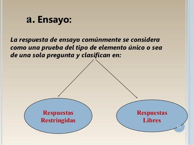 La respuesta de ensayo comúnmente se considera como una prueba del tipo de elemento único o sea de una sola pregunta y cla...