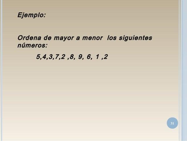 Ejemplo: Ordena de mayor a menor los siguientes números: 5,4,3,7,2 ,8, 9, 6, 1 ,2 31