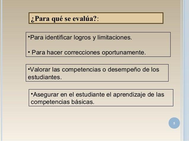 •Para identificar logros y limitaciones. • Para hacer correcciones oportunamente. •Valorar las competencias o desempeño de...