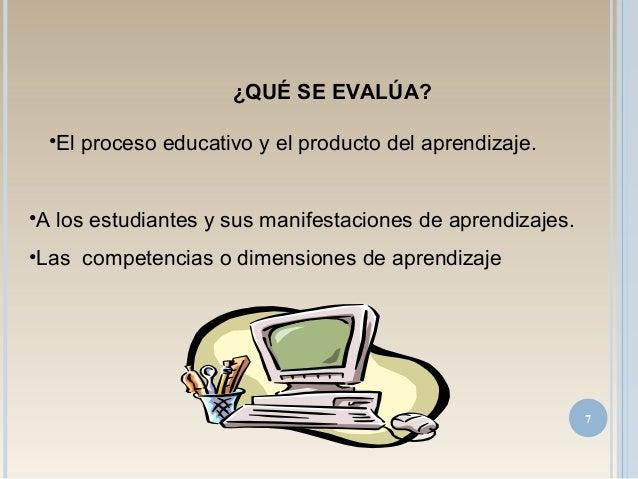 ¿QUÉ SE EVALÚA? •El proceso educativo y el producto del aprendizaje. •A los estudiantes y sus manifestaciones de aprendiza...