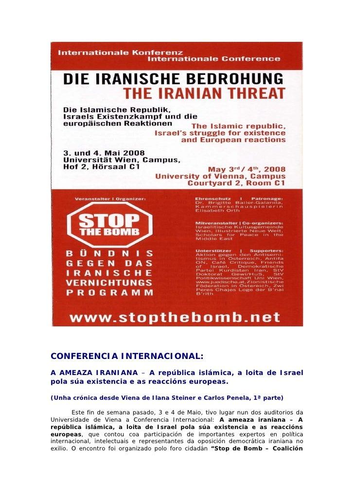 CONFERENCIA INTERNACIONAL: A AMEAZA IRANIANA – A república islámica, a loita de Israel pola súa existencia e as reaccións ...