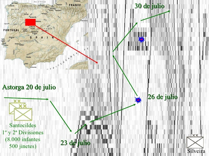Santocildes 1º y 2ª Divisiones (8.000 infantes 500 jinetes) Silveira 23 de julio 26 de julio 30 de julio Astorga 20 de julio