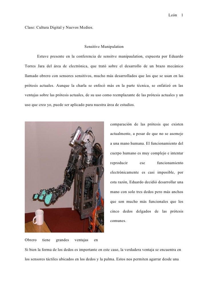 León 1  Clase: Cultura Digital y Nuevos Medios.                                       Sensitive Munipulation           Est...