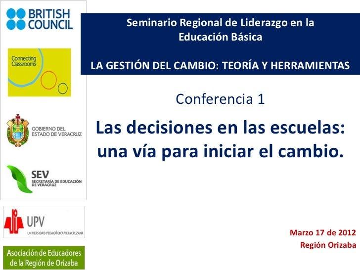 Seminario Regional de Liderazgo en la                Educación BásicaLA GESTIÓN DEL CAMBIO: TEORÍA Y HERRAMIENTAS         ...