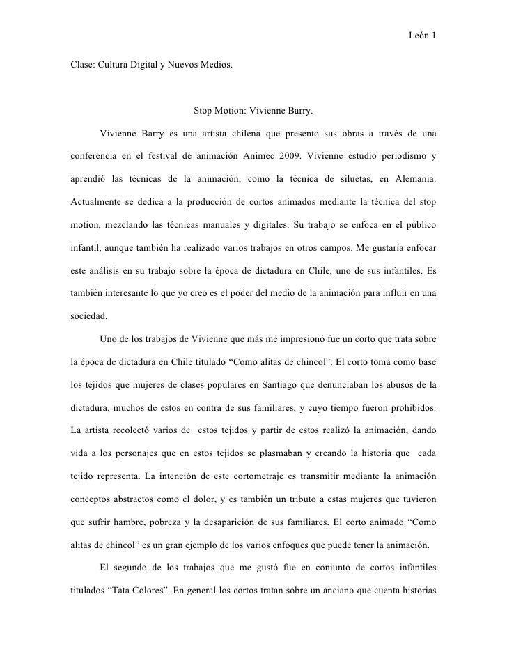 León 1  Clase: Cultura Digital y Nuevos Medios.                                   Stop Motion: Vivienne Barry.         Viv...
