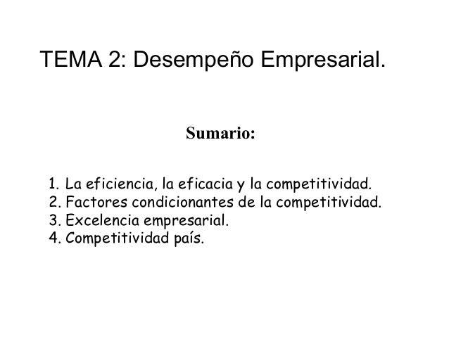 TEMA 2: Desempeño Empresarial.                    Sumario:1. La eficiencia, la eficacia y la competitividad.2. Factores co...