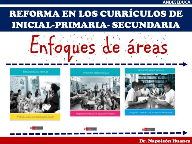 ANDESEDUCA Dr. Napoleón Huanca REFORMA EN LOS CURRÍCULOS DE INICIAL-PRIMARIA- SECUNDARIA Enfoques de áreas