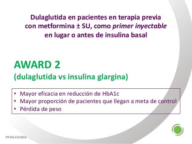 Dulaglutida en pacientes en terapia previa con metformina ± SU, como primer inyectable en lugar o antes de insulina basal ...