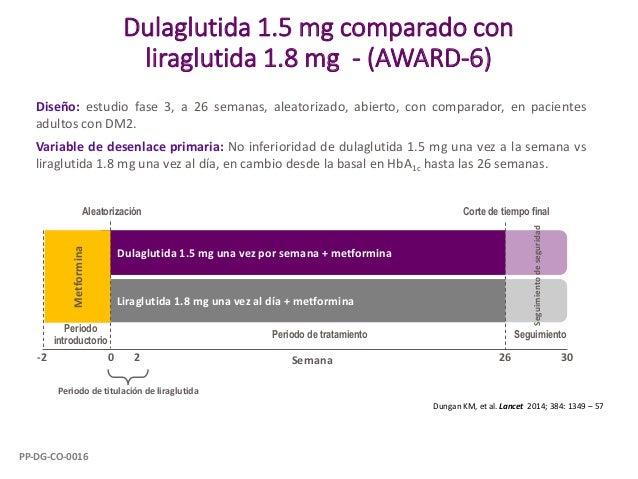 Dulaglutida 1.5 mg comparado con liraglutida 1.8 mg - (AWARD-6) Diseño: estudio fase 3, a 26 semanas, aleatorizado, abiert...