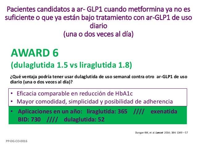 Pacientes candidatos a ar- GLP1 cuando metformina ya no es suficiente o que ya están bajo tratamiento con ar-GLP1 de uso d...