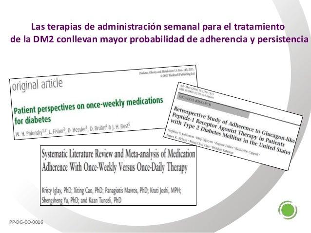 Las terapias de administración semanal para el tratamiento de la DM2 conllevan mayor probabilidad de adherencia y persiste...