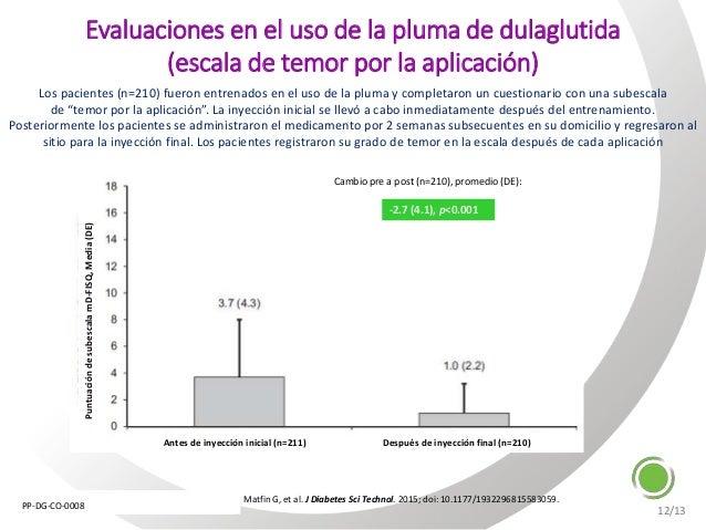 Matfin G, et al. J Diabetes Sci Technol. 2015; doi: 10.1177/1932296815583059. Cambio pre a post (n=210), promedio (DE): Pu...