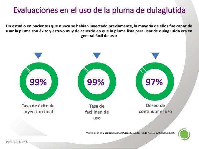 Evaluaciones en el uso de la pluma de dulaglutida Un estudio en pacientes que nunca se habían inyectado previamente, la ma...