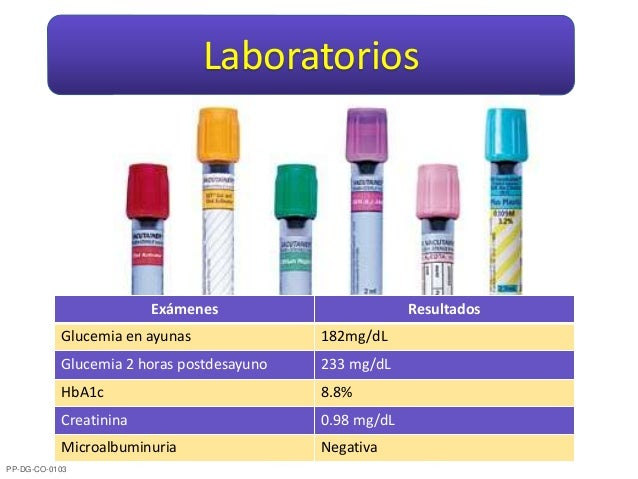 Laboratorios Exámenes Resultados Glucemia en ayunas 182mg/dL Glucemia 2 horas postdesayuno 233 mg/dL HbA1c 8.8% Creatinina...
