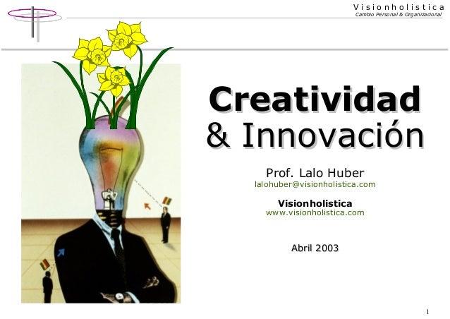 Visionholistica Cambio Personal & Organizacional  Creatividad & Innovación Prof. Lalo Huber  lalohuber@visionholistica.com...
