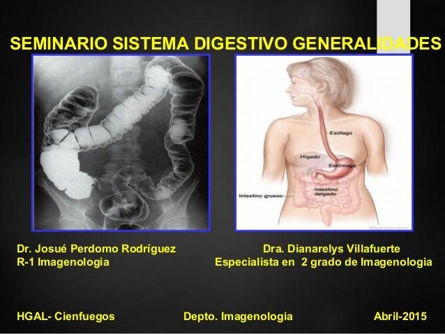 SEMINARIO SISTEMA DIGESTIVO GENERALIDADES Dr. Josué Perdomo Rodríguez Dra. Dianarelys Villafuerte R-1 Imagenologia Especia...