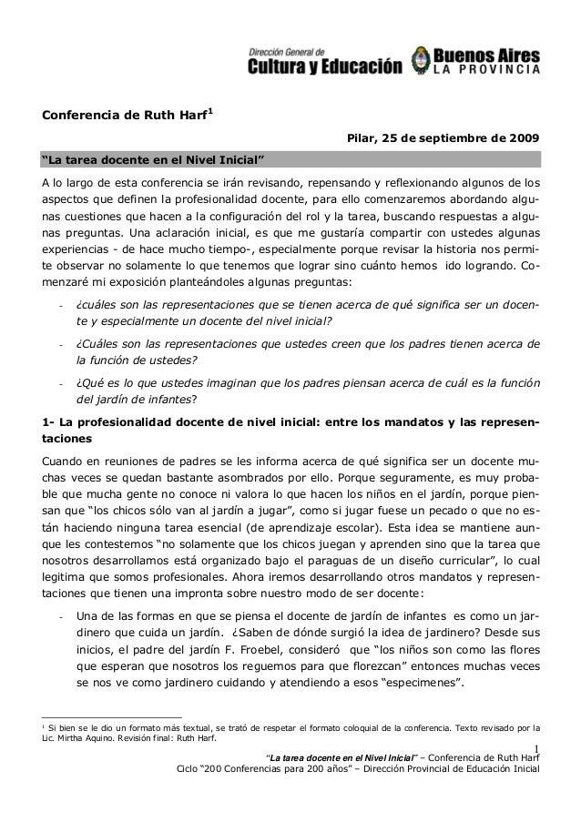 """""""La tarea docente en el Nivel Inicial"""" – Conferencia de Ruth HarfCiclo """"200 Conferencias para 200 años"""" – Dirección Provin..."""