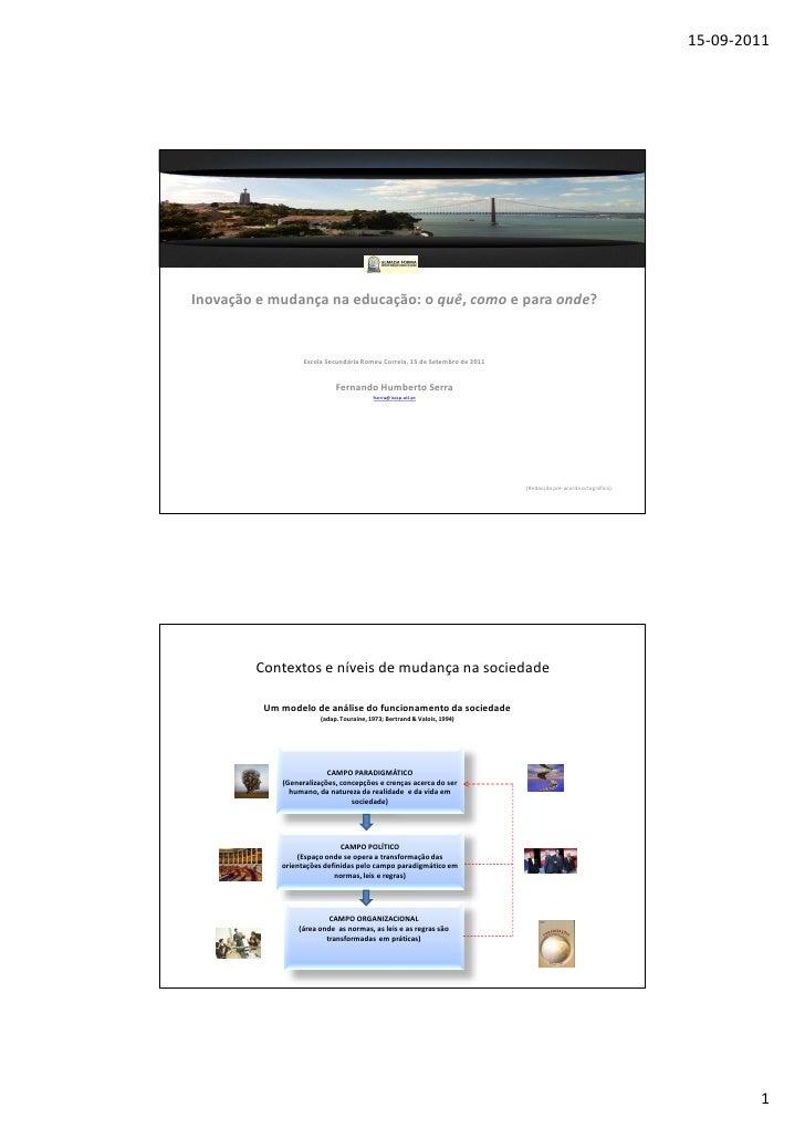 15-09-2011Inovação e mudança na educação: o quê, como e para onde?                   Escola Secundária Romeu Correia, 15 d...