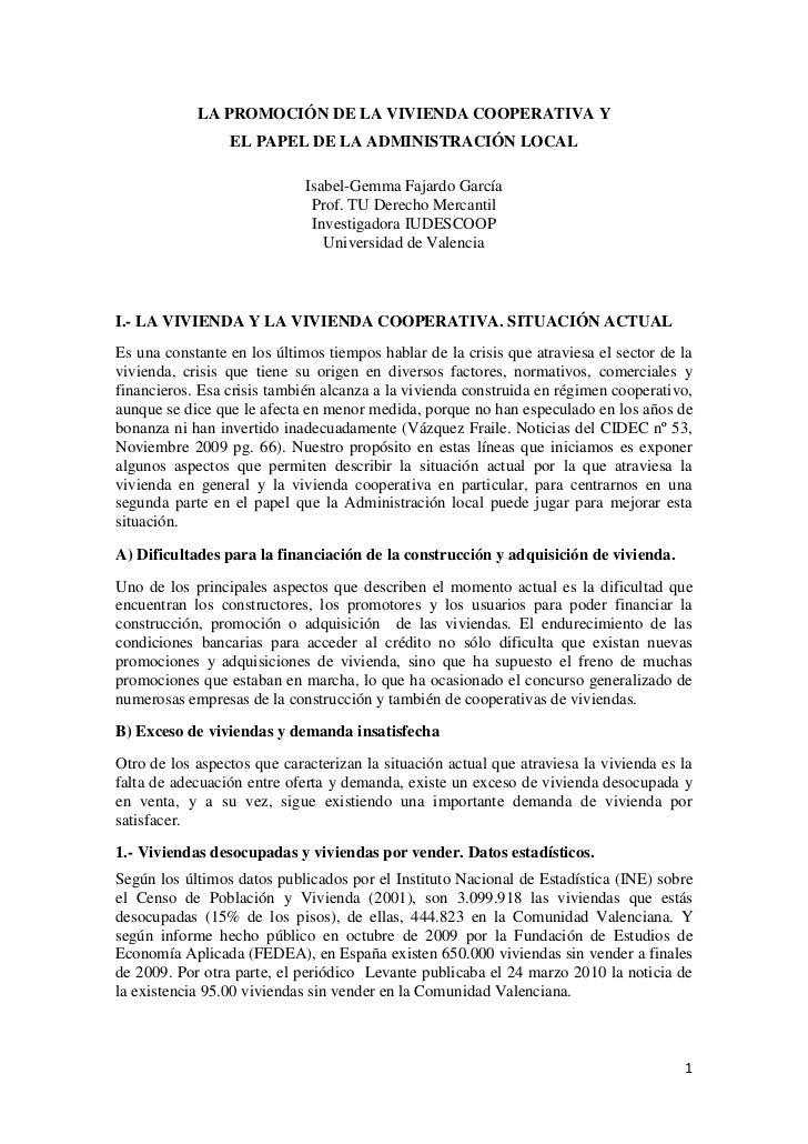 LA PROMOCIÓN DE LA VIVIENDA COOPERATIVA Y                 EL PAPEL DE LA ADMINISTRACIÓN LOCAL                             ...